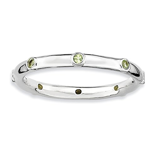 Size 5 - Peridot 2.25mm Studded Band Sterling Silver Stackable Expressions - Band 2.25 Studded Mm