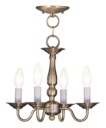 Livex Lighting 5010-01 Williamsburg 4-Light Convertible Hanging Lantern/Ceiling Mount, Antique Brass Antique Brass Williamsburg 1 Light