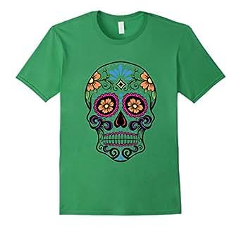Mens Dia de los Muertos Skull - Dia de los Muertos T Shirts 2XL Grass