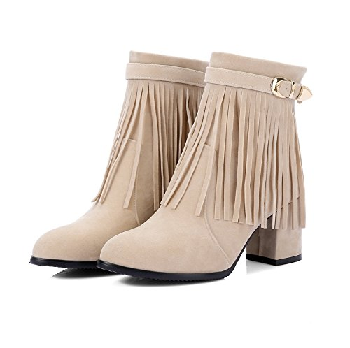 AdeeSu Womens Fringed Metal Buckles Square Heels Suede Boots SXC02534 Apricot XT26AL