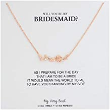 My Very Best Flower Bar Necklace for Bridesmaid Gift
