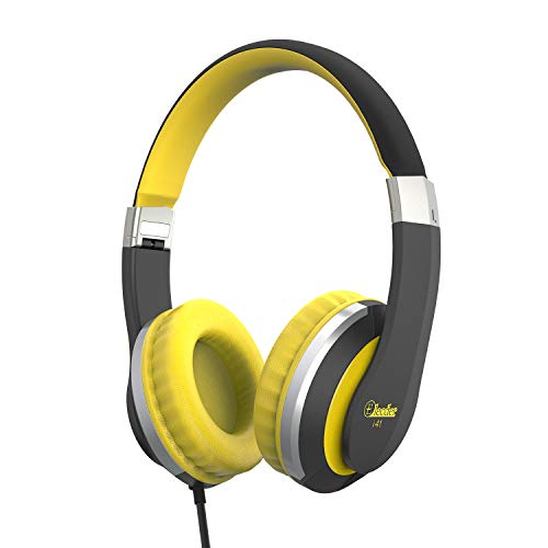 Kids Headphones Elecder i41 for Kids Childrem Girls Boys Teens Adults Foldable Adjustable On Ear Headsets with 3.5mm Jack for iPad Cellphones Computer MP3/4 Kindle Airplane School(Yellow/Black)
