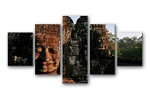 GLITZFAS PRINTS 5 Panel Wall Art Painting - City Ruins Sanctuary Temple Cambodia - Canvas Stretched with Wooden Frame for Home Decor (8