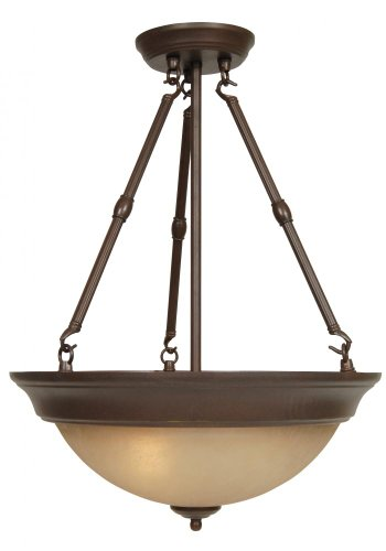 Craftmade Step (Craftmade X725-AG Up-Pendant with Amber Frosted Glass Shades, Aged Bronze Finish)