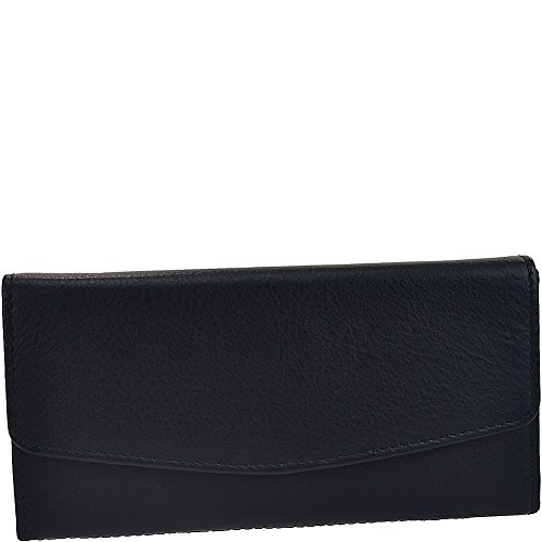 Leather Triple Gusset Flap - R & R Collections Leather Triple Gusset Flap Wallet (Black)