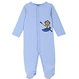 JIAJIA Newborn Baby Boys Cotton Footed Sleeper Pajama Onesies 3 Pack 6-9 Months