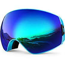 ZIONOR Lagopus X7 Ski Goggles with Quick-Change Dual-layer Lens UV400 Protection Anti-fog Wide Spherical View Anti-slip Drop Rubber Strap for Ski, Snowboard Unisex Adult Men and Women
