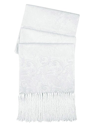 - Cristoforo Cardi Men's Silk Tapestry Formal Scarf One Size Fits (White)