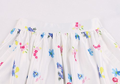 de Plage Cocktail Rtro Jupe Fte de Soire Ajoure Imprime Blanc1 JackenLOVE Plisse Jupe Mode Elegante Genou Jupes Femmes Longueur t qURRwXz7