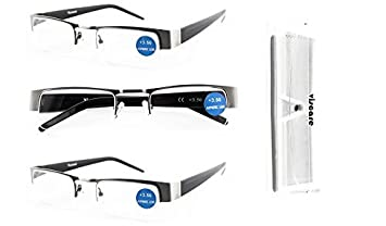 1e69b754b36c Read Clear and Look Nice! Viscare Quality 3 Pack Unisex Men Women Designer  Half Frame