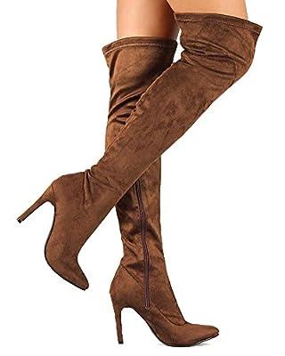 Breckelles BG03 Women Faux Suede Pointy Toe Stiletto Heel Thigh High Boot
