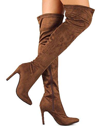 eab638545e0 Breckelles BG03 Women Faux Suede Pointy Toe Stiletto Heel Thigh ...