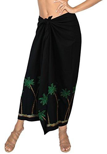 Bagno Gonna Dello La Coprire Leela Da Costume Swimwear Sarong Del k179 Nero Bikini Ricamata Rayon xUFqzXU