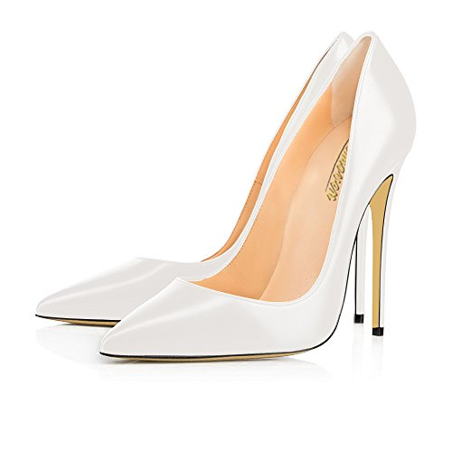 Pointed Toe High Heels Shoes (White) - 9