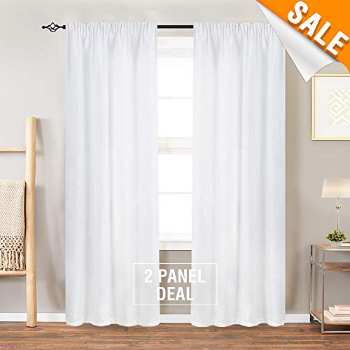 White Bathroom Window Curtains Waffle Weave Textured Cafe Curtains Small Window Treatment Sets for Kitchen, 90 Inches Long, 2 Panels
