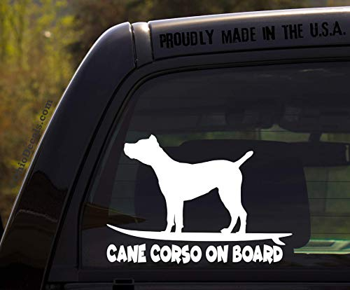 OhioDecals.com Cane Corso on Board - Funny Dog Breed Decal Sticker for car or Truck Window (Best Food For Cane Corso)