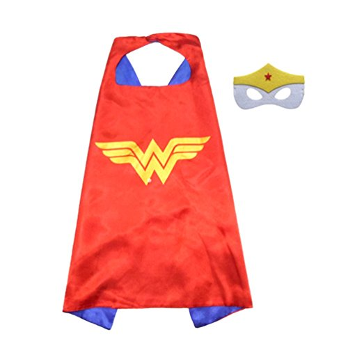 Superhero or Princess Comics Cartoon Dress Up Costume Cape & Mask Set For Kids Toddlers Pretend Play (Red & Blue Wonder Woman)