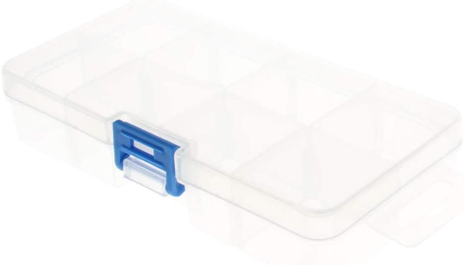 Utoolmart Hardware Tool Storage Box PP Holder Clear Compartment Storage Box with Adjustable Sections for Tool or Craft Storage Locking Lid and Extra Storage 1pcs