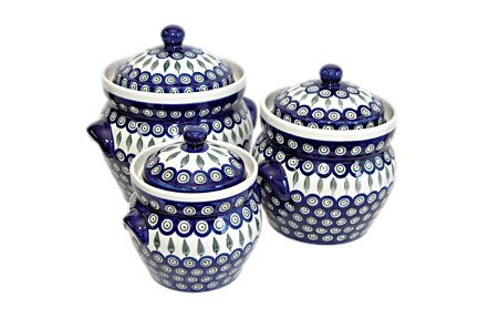 Polish Pottery Peacock Large Canister Set