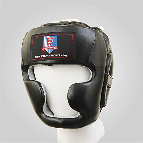 Exxact Sports Black Pure Leather Boxing Headgear MMA Protector Headgear Fighting Helmet