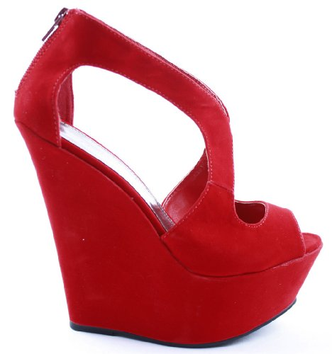 Ladies Womens Platform High Heels Bridal Peeptoe Wedge Sandals Bridesmaid Shoes Evening Size 3-8 New Red MoAcjl