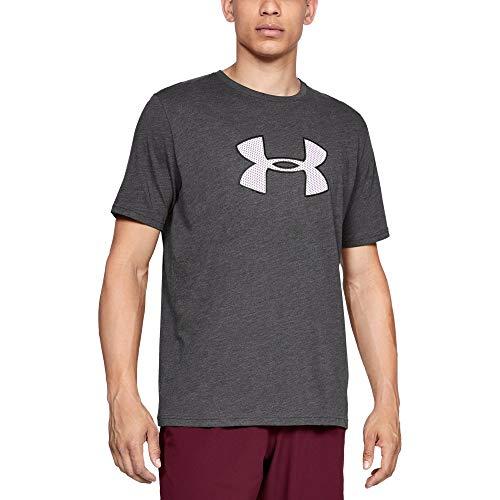 Under Armour Men's Big Logo Short sleeve, Charcoal Medium Heat (019)/White, Medium
