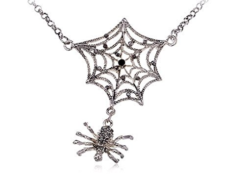 Glucky : Antique Inspired Jet Black Crystal Rhinestones Spider Web Chain Long Necklace (Spiderweb Rhinestone Necklace)