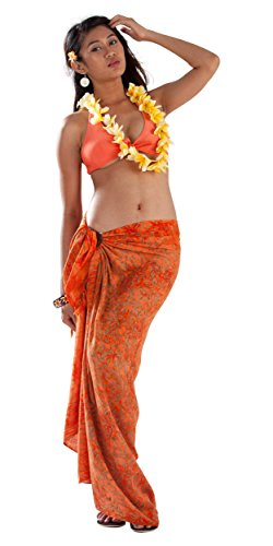 1 TowelsRus Spa Days Sarong World, Bambus, Leaf Badeanzug für Damen-Sarong Orange