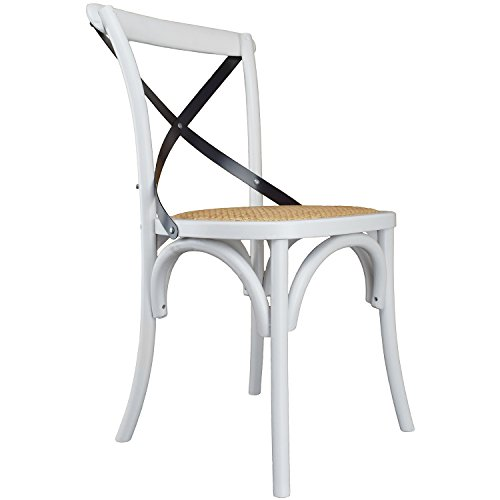 2xhome White Mid Century Modern Farmhouse Antique Cross Back Chair With X Back Assembled Solid Real Wooden Frame Antique Style Dining Chair Side Armless For Accent Chairs Woven Kitchen Task Work Desk by 2xhome (Image #8)