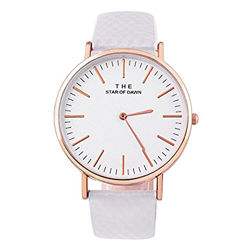 Band Artificial Dial Leather (Yuchoi White Unisex Discolor Artificial Leather Band Round Dial Quartz Wrist Watch)