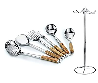 HILLPOW 6-Piece Premium Kitchen Stainless Steel Cooking & Serving Utensil Set with Non-slip Anti-scald Wooden Handle and Holder--Solid Spoon,Ladle,Meat Fork,Slotted Turner,Slotted Ladle,Plain Turner from HILLPOW
