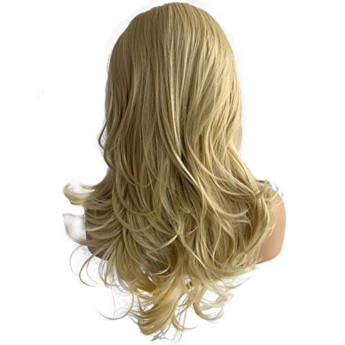 FUHSI Blonde 13×6 Lace Front Wig Long Wavy Glueless FUTURA Fiber Synthetic Wig For Women-22inch 613# Color ()