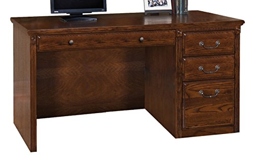 Martin Furniture Huntington Oxford Single Pedestal Computer Desk, Burnish Finish, Fully Assembled