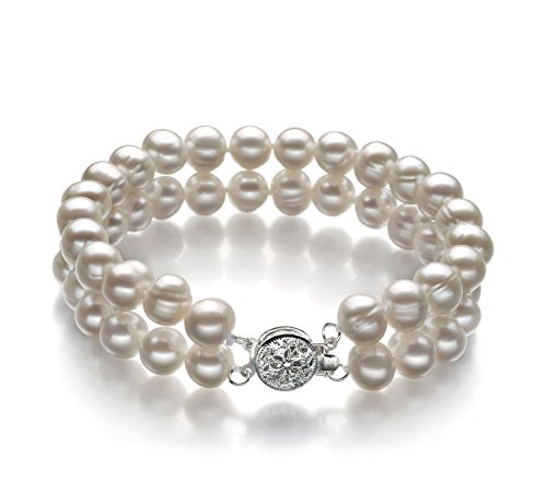 White 6-7mm A Quality Freshwater Cultured Pearl Bracelet-8 in length