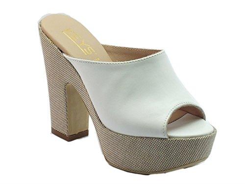 Keys 5121 Pelle Bianco - Sandalias de vestir de Piel para mujer Blanco blanco blanco