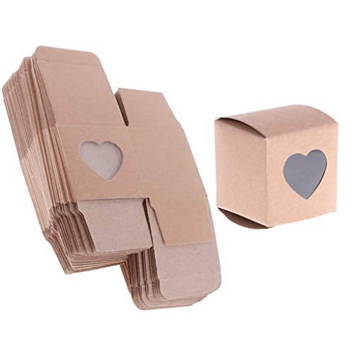 Jili Online 50 Pieces Kraft Rustic Candy Gift Boxes Heart Window Decor Wedding Favors (Gift Boxes Online)