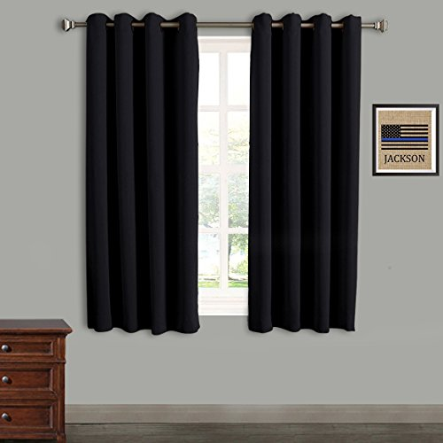 Rose Home Fashion RHF Blackout Thermal Insulated Curtain - Antique Bronze Grommet Top for Bedroom-Set of 2 Panels-52W by 63L Inches-Black-5263p2