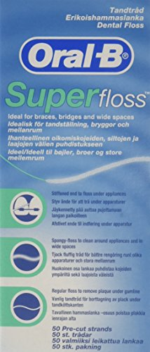 Oral-B Super Floss Mint Dental Floss Pre-Cut Strands 50 ea (Pack of 6)