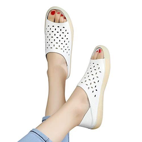 (Amlaiworld Women Summer Sandasl Fashion Fish Mouth Casual Flat with Tendon Soft Bottom Slippers Mesh Beach Slipper Shoes White)