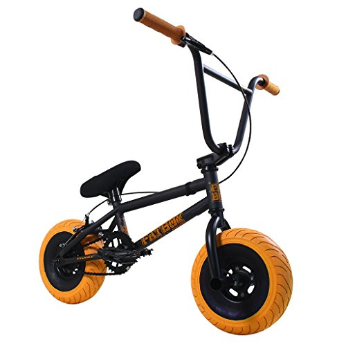 Fatboy Mini BMX Bicycle Matte Black Gum 2 Orange Tires