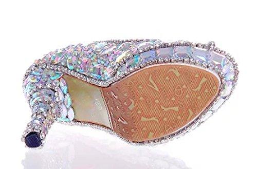 Silver 12cm Party Rhinestones Peep Women's Heel Stiletto Shoes Toe TDA Dazzling Wedding Dress xFZBqFAw