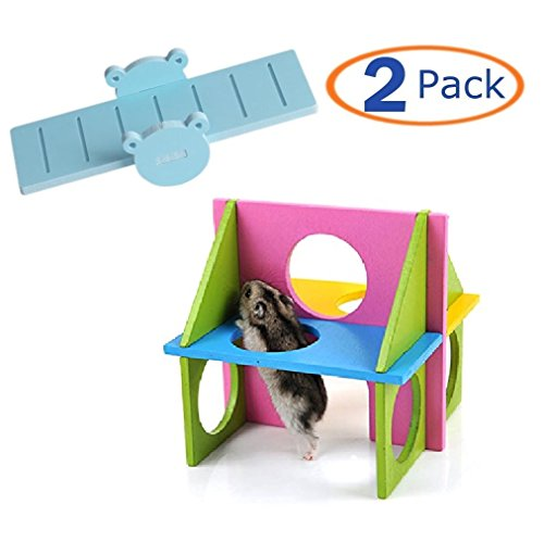 Hamster Toy,Wood Climb Kit Seesaw Funny Gym Playground Exercise Colorful Safe Toy for Small Animal
