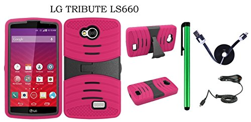(LG Tribute LS660 Dual Layer Hybrid Case - UCASE Cover With Kickstand and Screen Installed + Car Charger + 1 of 1M/3Feet Stylish Micro USB To USB 2.0 Data Sync Charger Flat Cable + 1 of New Metal Stylus Touch Screen Pen (PINK))