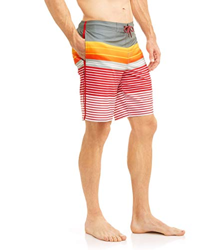 "George Brilliant Red Stripe Above The Knee 8"" Inseam Eboard Swim Short Trunks - 3XL"