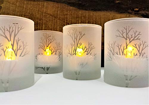 Frosted 'Tree Branch' Engraved Glass Candle Holders Set Of 4 -