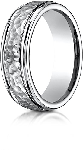 Benchmark Titanium 7mm Comfort-Fit Hammered-Finished Design Wedding Band Ring, Size 10 ()