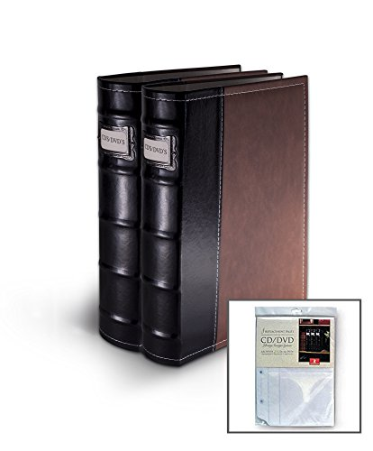 Bellagio-Italia Brown Leather Disc Storage Binder Perfect For CDs, DVDs, Blu-Rays, and Video Games. 2 pack includes 8 additional insert sheets. Set holds 128 discs ()