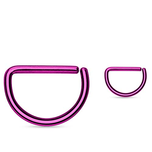 (Amelia Fashion 20GA D Shape Titanium Anodized Over 316L Surgical Steel Hoop (Choose Color) (Purple))