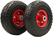 """PeakTow PTR0004 New 10"""" Flat Free Solid 4.10/3.50-4"""" Tire on Wheel for Dolly Handtruck Cart – 2PK"""