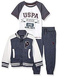 U.S. Polo Assn. Juego de 3 Piezas de Chamarra de Forro Polar, Playera y pantalón de Manga Corta para niño